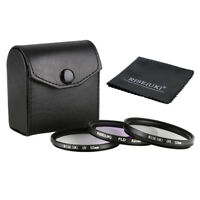 52MM UV + FLD + CPL Filters Set For Camera Sony Canon Nikon Olympus  + Case