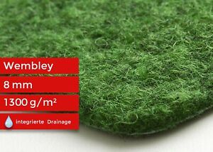 Kunstrasen mit Noppen Nadelfilz Rasenteppich Wembley Balkon Garten Grün