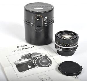 Vintage Nikon Nikkor 20mm f4 Ai Camera Lens w/ front & back caps & case