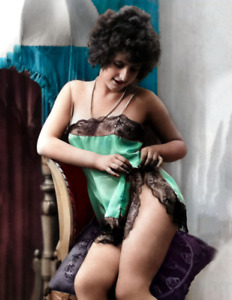 """Woman in Sexy Lingerie Old Photo 8.5"""" x 11"""" Reprint Colorized"""