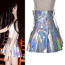Fashion Girls Hologram Metallic Silver Pleated Skirt Mini Short Dress Trend