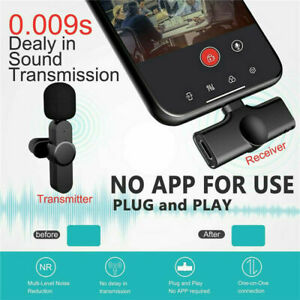Wireless Lavalier Lapel Clip on Microphone Mic For iPhone ipad Vlog Live Stream