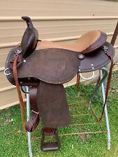 "New listing 16"" Brisbane Australian/Western crossover trail saddle w/roughout fenders"