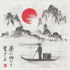 4x Paper Napkins for Decoupage Decopatch Craft Japanese boat