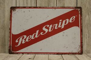 Red Stripe Jamaican Beer Tin Sign Bar Man Cave Vintage Retro Advertising Style