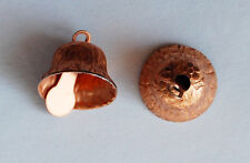 VINTAGE 2 TINY SMALL COPPER METAL BELL CHARMS PENDANTS BEADS 1/2 inch