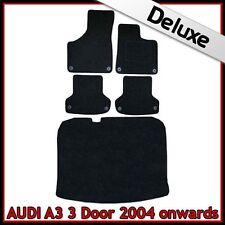 Audi A3 Mk2 3-Door 2003-2013 Tailored LUXURY 1300g Carpet Car & Boot Mats BLACK