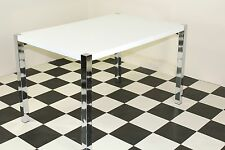 Table High Gloss Rectangular Table With Chromed Legs