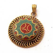 Turquoise Coral Brass Pendant Tibetan Nepalese Handmade Gypsy Boho PD1058