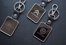 Chrome Mirror Finish Leather Car Logo Keyring Key Chain