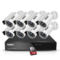 TMEZON 8CH 1080P HDMI DVR 2.0MP Outdoor CCTV Home Security Camera System 1TB HDD