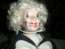 """Porcelain Musical Clown Doll On A Stand  14"""" Tall with Mask on a Stick"""