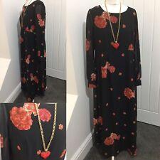 Dorothy Perkins Maternity Black Red Floral Maxi Dress Sz 12 BNWOT Party