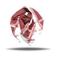 "Hirbawi Palestine Red white Keffitey Shemagh Arab Scarf Cotton 47""X 47"" Unisex"