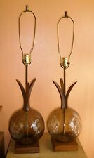 Vintage Pair Mid Century Danish Modern Glass Ball Globe & Walnut Table Lamps