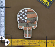 "Ricamata / Embroidered Patch ""USA Skull"" Coyote Tan with VELCRO® brand hook"
