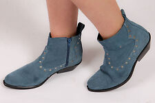 Vintage blue suede ankle boots - Cowboy Western Santa Fe studded suede boots 6