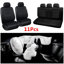 11Pcs/Set Black PU Leather 5 Seat Car Front Rear Seat Cover Protector Universal