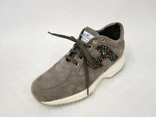 HOGAN Wildleder Sneaker Gr.37,5 Glitzerdetail Schnürer Schuhe Shoes Grau