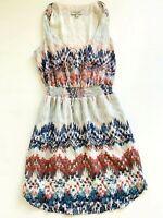 Women's JUST JEANS Geo Print Banded Waist Tie Front A Line Short Dress S8 EUC