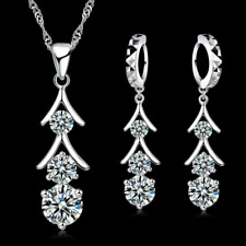 SILVER WEDDING BRIDAL NECKLACE and EARRINGS made with SWAROVSKI Crystals