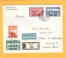 Austria Registered Air Mail Boxed Train Auxiliary 1937 to Solln Backstamp z34