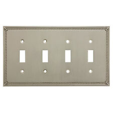 Satin Nickel Quadruple Toggle Decorative Wall Switchplate Cover 44036-Sn