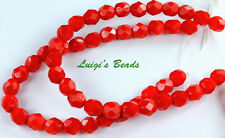 25 Opaque-Red Czech Firepolished Faceted Round Glass Beads 6mm