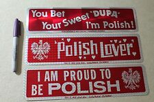 POLISH Poland White Eagle Funny 80's Flag 3x11.5in. Bumper Sticker - Lot of 3
