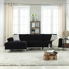 Modern Large Velvet Fabric Sectional Sofa with Extra Wide Chaise Lounge - Black