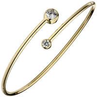 Armreif offener Armband, weiße Zirkonia 925 Silber Gelbgold vergoldet Armschmuck