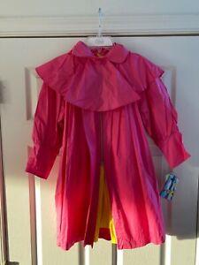 Oilily Girls Coat Sz 116 / 6 yr Hood Zip Light weight Pink Jacket Retail 198.00