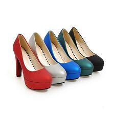 Womens Fashion High Heels Platform Round Toe Pumps Shoes AU Size 2.5--10 C303
