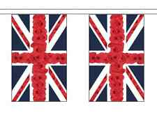 Remembrance Day Poppy Union Jack Flag Bunting - 5m With 14 Flags