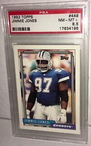 1992 TOPPS #449 FOOTBALL CARD JIMMIE JONES DALLAS COWBOYS PSA 8.5 NM-MT+ NFL