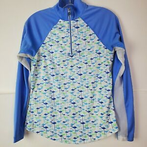Greg Norman Womens Blue 1/4 Zip Golf Pullover Performance LS Shirt Flamingo XS