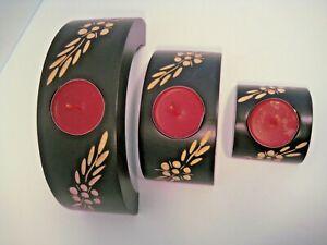Etched wooden modern candle holder 3 piece flower tea light decorative set