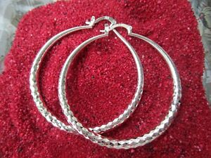925 Silber XXL Creolen ca.50 mm ° 4 mm Groß Rund Hänger Spiegel Schlangenoptik