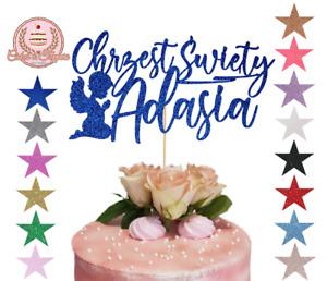 Chrzest Swiety Christening Glitter Cake Topper Customised Personalised Any Name