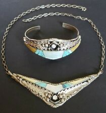 Vintage Harry Spencer 925 Silver Turquoise & Mother of Pearl Necklace & Bracelet