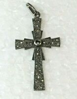 Vintage Fine Marcasite STERLING SILVER CROSS PENDANT marked 925 Christian