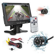 """Kit Retromarcia con Monitor 7"""" Auto Camper Telecamera Infrarossi a Specchio Led"""