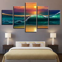 Sunset Beach Huge Waves Seascape Abstract Painting 5 Panel Canvas Print Wall Art