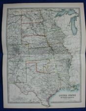 Original antique map USA, AMERICA, TEXAS, INDIAN TERRITORY, IOWA, Johnston, 1896