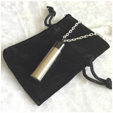 Brushed Silver & Black Stainless Steel Cremation Jewellery Ashes Urn Necklace