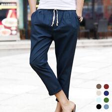 Men's Solid Casual Trousers Fashion Linen Cotton Elastic Waist Loose Harem Pants