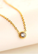 Micro-inlay Cubic Zirconia Pendant Necklace Tiny Dot Gold Sterling Silver
