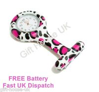 Brand New Fashion Black and Pink Spots Silicone Brooch Tunic Fob Nurse Watch