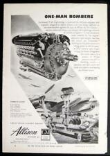 GM Allison Aircraft Engine 1945 vintage AD P-38 *One-Man Bombers*