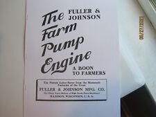 1909 Super Early Fuller Amp Johnson Farm Pump Gas Engine Flyer